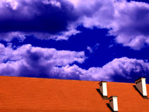 Roof and the sky II. Roof and the sky, extreme coloured Stock Image