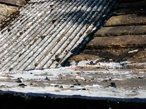 Roof slates on an old cottage texture and pattern stock images