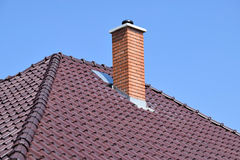 Roof with smoke stack Royalty Free Stock Image