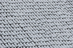 Roof with snow. Roof tiles with a few inches of snow Stock Photography