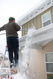 Roof Snow Removal Stock Image