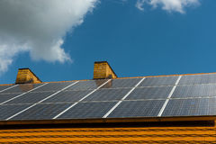 Roof with solar cells Royalty Free Stock Photography