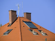 Roof with solar collector Stock Image