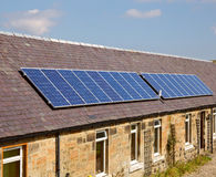 Roof solar modules Stock Photo