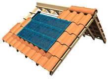 Roof with solar panels. 3d illustration roof with solar panels Stock Photos