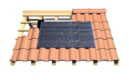Roof with solar panels. 3d illustration roof with solar panels Stock Image