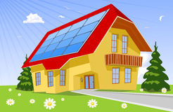 Roof solar panels. Roof blue solar panels,  illustration Stock Photo