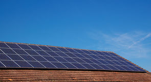 Roof with solar panels Stock Photography