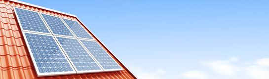 Roof solar panels 3d Illustrations Royalty Free Stock Images