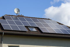 Roof with solar panels Royalty Free Stock Photography