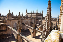 Roof and spires of the Saint Mary cathedral in Seville Royalty Free Stock Image