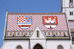 Roof of St. Mark's Church in Zagreb Royalty Free Stock Photos