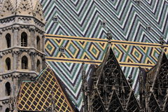 Roof of St. Stephen's Cathedral, Vienna. St. Stephen's Cathedral is the mother church of the Archdiocese of Vienna and the seat of the Archbishop of Vienna Stock Photography