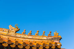 The roof statue in forbidden city Stock Image