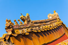 The roof statue in forbidden city Royalty Free Stock Photo