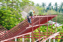 Roof steel architecture under construction Stock Photography
