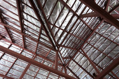 Roof with steel beam and silver foil insulation heat Stock Photography
