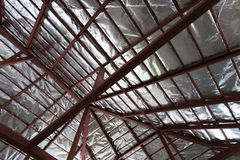 Roof with steel beam and silver foil insulation heat Royalty Free Stock Images