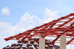 Roof steel construction for new house Stock Photography