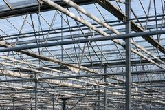 Roof and steel frame of Dutch greenhouse Royalty Free Stock Photography
