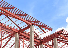 Roof steel install for new house Royalty Free Stock Image