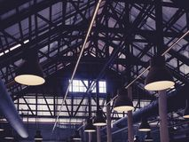 Roof steel structure Loft Interior design with lighting stock images