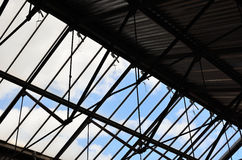 Roof steel structure. Renovated structure of an old warehouse Stock Photography
