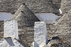 Roof stones trulli of Alberobello. Puglia, southern Italy. Some roofs with the ancient technique of construction of the trulli in Alberobello in Puglia. Italy stock photo
