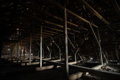 Roof structure. Old timber structure, the roof of a historical building Stock Image
