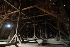 Roof structure. Old timber structure, the roof of a historical building Stock Photo