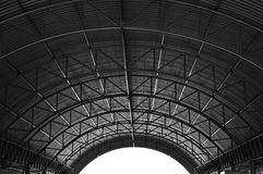 Roof Structure. Arched roof steel structure the design for Food court open space Stock Photography