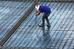 Construction worker in construction site.Roof structure,construction. stock photos