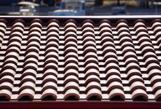 Red tiles of a roof stock images