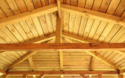 Roof structure. Interior view of a wooden roof structure Royalty Free Stock Photo