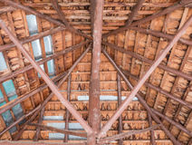 Roof structure from the teak timber. Royalty Free Stock Images