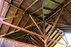 The roof structure of the wooden pavilion. royalty free stock photos