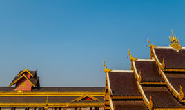 Roof Style of Thai Temple on Blue Sky Background Stock Photography