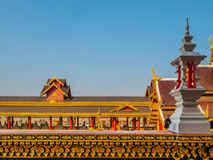 Roof Style of Thai Temple on Blue Sky Background Stock Photos