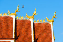 Roof style of thai temple. With gable apex on the top Stock Photography