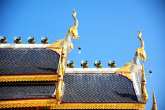Roof style of thai temple with gable apex Stock Photos