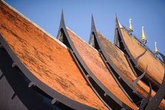 Roof style of thai temple with gable apex Royalty Free Stock Image