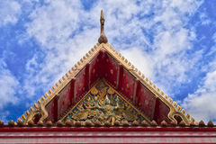 Roof style of Thai temple with gable apex on the top with blue s Stock Image
