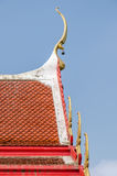 Roof style of thai temple with gable apex on the top Royalty Free Stock Photo