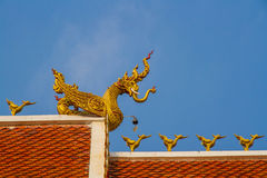Roof style of thai temple with gable apex on the top Stock Photo