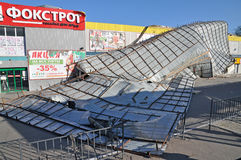 The roof of a supermarket after the storm Royalty Free Stock Image