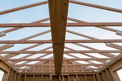 Roof Support Beam in New Home Construction Stock Images