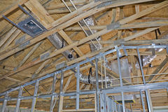 Roof and support structures in new home. The roof and the supporting structures in a new home under construction Royalty Free Stock Photo