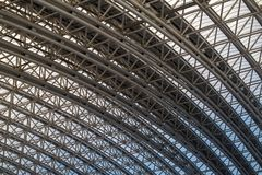 Roof supporting metal structures. Bottom view royalty free stock photo