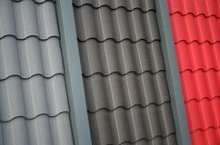 Roof templates from metal tile. Several roof cover pieces.  stock image