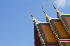 Roof temple. The roof is made ​​of colored tiles Royalty Free Stock Photos
